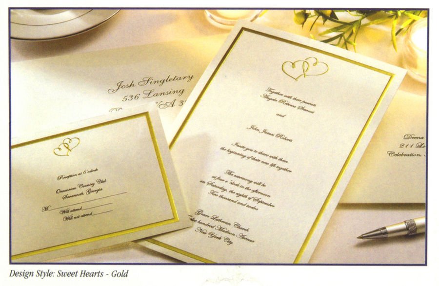 Printing Your Own Wedding Invitations: 160 Wilton Ivory Gold Hearts Wedding Invitation Kits